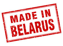Made in Belarus stamp. Made in Belarus square stamp  on white background Stock Images
