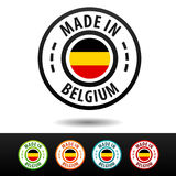 Made in Belgium badges with Belgium flag. Royalty Free Stock Images