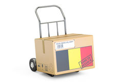 Made in Belgium concept. Cardboard Box on Hand Truck, 3D renderi Stock Photo