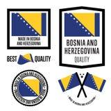 Made in Bosnia and Herzegovina label set Stock Image