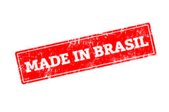 MADE IN BRASIL. Word written on red rubber stamp with grunge edges Royalty Free Stock Photo