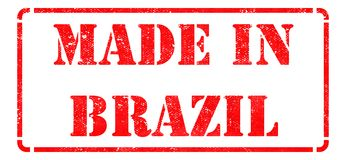 Made in Brazil - Red Rubber Stamp. Royalty Free Stock Photography