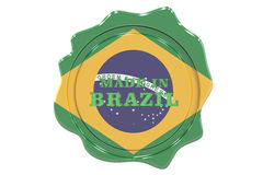 Made in Brazil seal, stamp. 3D Royalty Free Stock Photos