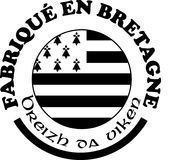 Made in Brittany` labels vector templates with signs in French and Breton languages. Made in Brittany Produit en Bretagne logo and labels for product Stock Photo