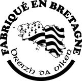Made in Brittany` labels vector templates with signs in French and Breton languages. Made in Brittany Produit en Bretagne logo and labels for product Royalty Free Stock Images