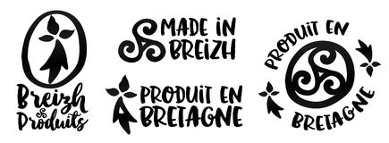Made in Brittany vector logo and labels templates set Stock Photo