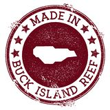Made in Buck Island Reef stamp. Grunge rubber stamp with Made in Buck Island Reef text and island map. Dramatic vector illustration royalty free illustration