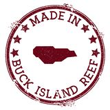 Made in Buck Island Reef stamp. Grunge rubber stamp with Made in Buck Island Reef text and island map. Ecstatic vector illustration royalty free illustration