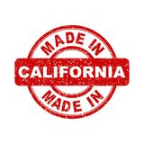 Made in California red stamp. Vector illustration on white backg Stock Photos