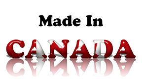 Made in Canada. The words made in Canada in the Canadian flag colors on white Royalty Free Stock Photography