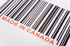 Made in Canada. And barcode, business concept royalty free stock images