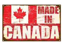 Made In Canada Enamel Sign. Made in Canada rusty old enamel sign Stock Image