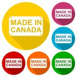 Made in Canada icons set with long shadow Stock Photo