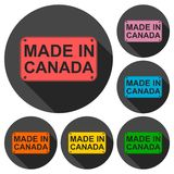 Made in Canada icons set with long shadow Royalty Free Stock Photos