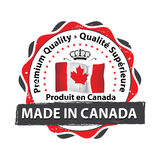 Made in Canada, Premium Quality stamp. Made in Canada, Premium Quality French Language - grunge label containing the map and flag colors of Canada. Print colors Royalty Free Stock Image