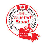 Made in Canada, Premium Quality, Trusted brand sticker for print Stock Image