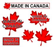 Made In Canada Product Labels Stock Images