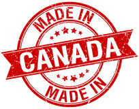 Made in Canada red stamp Stock Photo