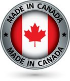Made in Canada silver label with flag, vector illustration. Made in Canada silver label with flag, vector stock illustration