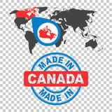 Made in Canada stamp. World map with red country. Vector emblem Stock Images