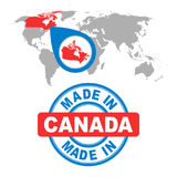 Made in Canada stamp. World map with red country. Vector emblem Stock Image