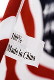 Made in china. USA flag, made in china Stock Photos