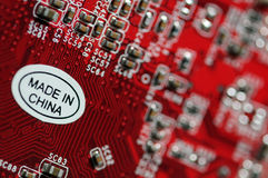 Made in China. Computer part made in China stock image
