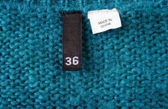 Made in china. Detail of pullover with label made in china Royalty Free Stock Image