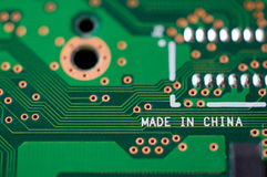 Made in china. Circuit board showing made in china Royalty Free Stock Photo