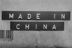 Made in China. Printed on a Black and white Background Stock Images