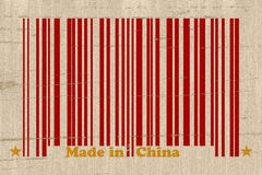 Made in China. A red bar code with the words made in China on a grunge background, Make in China Stock Photos