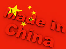Made in China. On chinese flag Royalty Free Stock Images