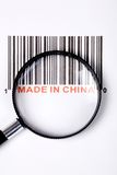 Made in China. And barcode, business concept stock photography