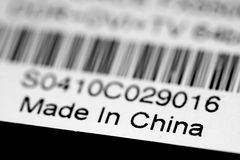 Made in China. A label with bar code and made in china title royalty free stock image