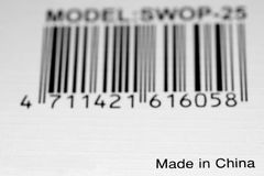 Made in China. A label with bar code and Made in China title Stock Images