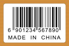 Made in china. A label with bar code and made in china title Stock Photography