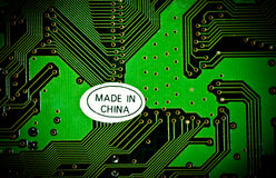 Made in China. Label Made in China on the motherboard Royalty Free Stock Images