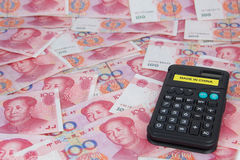 Made in China. Calculator with made in China, on yuan royalty free stock images