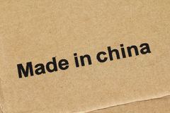 Made in China. On cardboard box stock photography