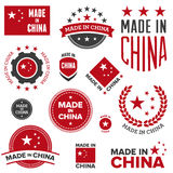 Made in China designs. Set of various Made in China graphics and labels Stock Photo