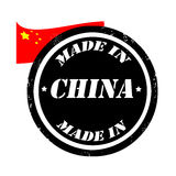 Made in china. Grunge made in rubber stamp with the flag of China,  illustration Stock Photo