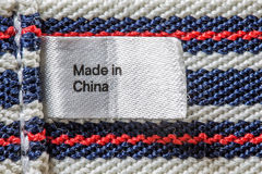 Made in China label. Closeup of the Made in China label Royalty Free Stock Photos