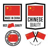 Made in China label set. Vector national flag Royalty Free Stock Photo