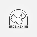 Made in China with map icon Stock Photography