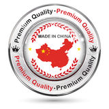 Made in China, Premium Quality - label / icon / badge. With the Chinese map and flag Royalty Free Stock Photo