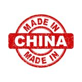 Made in China red stamp. Vector illustration on white background Stock Photography