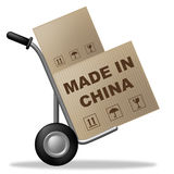 Made In China Shows Shipping Box And Asia Stock Photo
