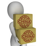 Made In China Stamp On Boxes Shows Chinese Products Stock Images