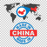 Made in China stamp. World map with red country. Vector emblem i vector illustration
