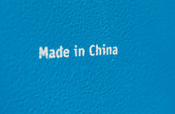 Made in china on steel plate selective focus Royalty Free Stock Photos